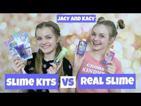 Slime Kits vs Real Slime Challenge ~ Trying New Slime Products ~ Jacy and Kacy