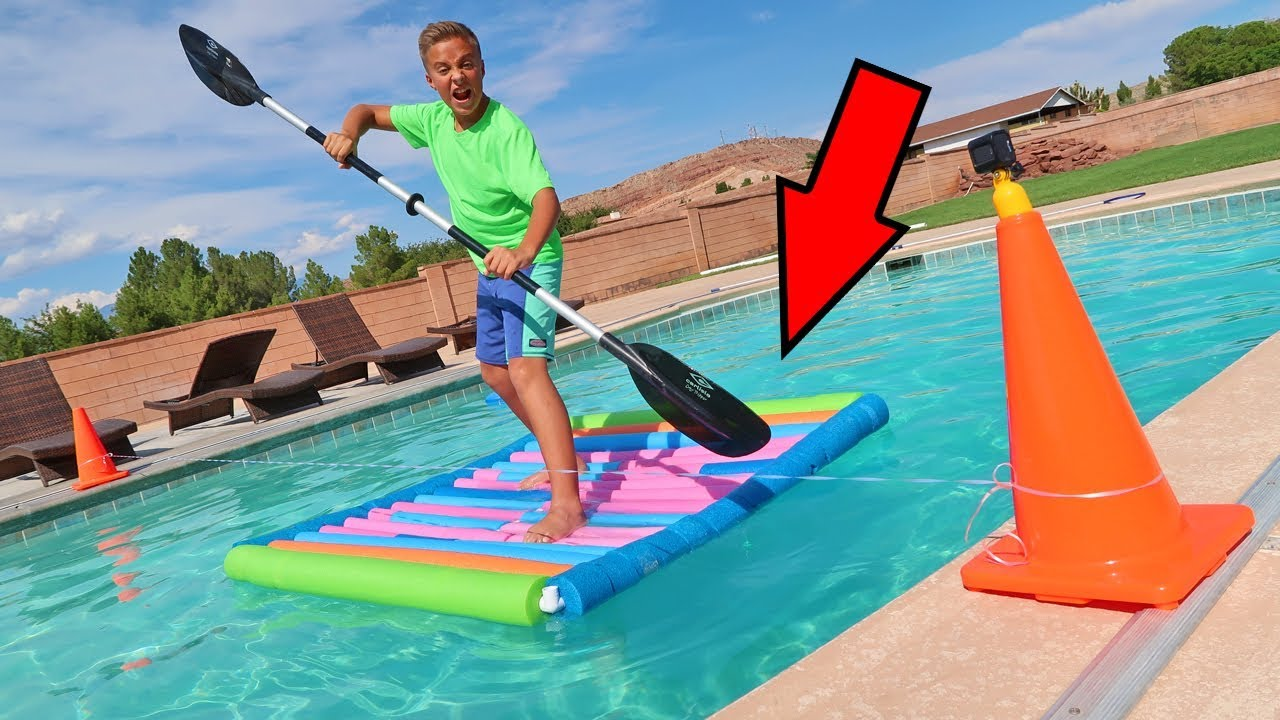 pool noodle raft racing experiment backyard swimming pool