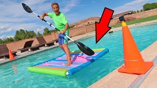 Pool Noodle Raft Racing Project Backyard Swimming Pool Adventure?!