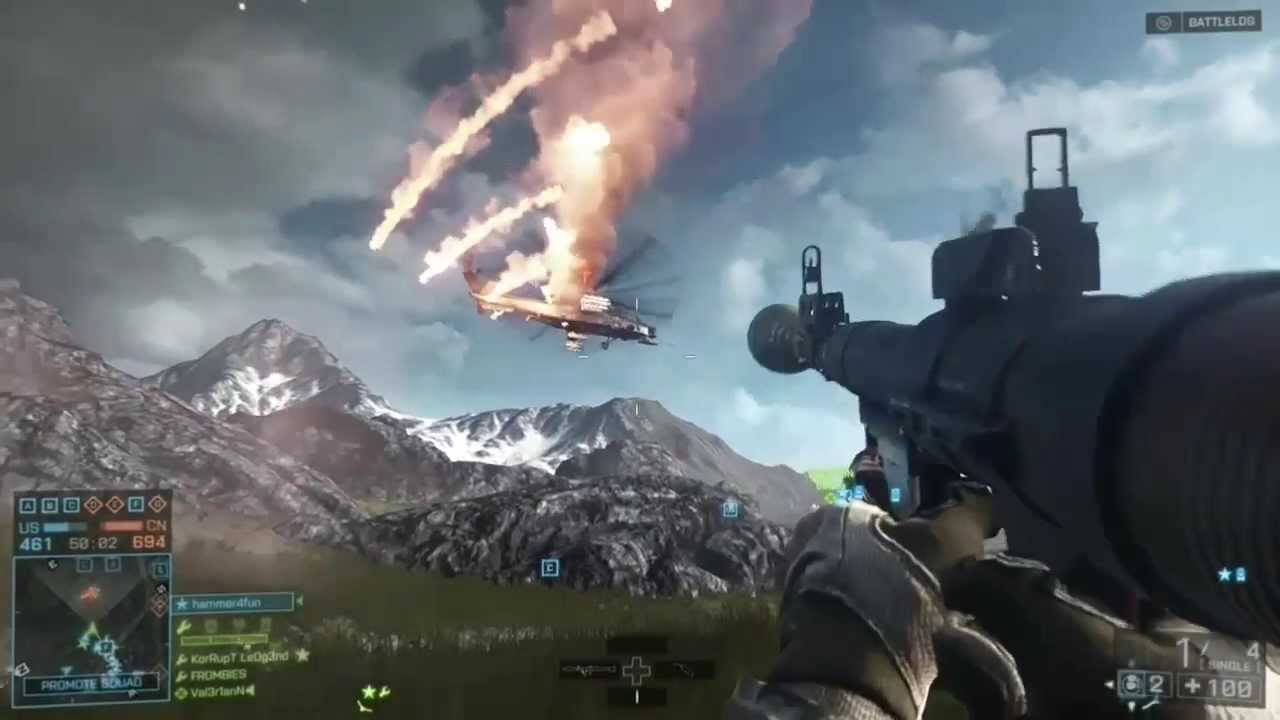 Battlefield 4 Elicottero : Battlefield rpg helicopter kills youtube