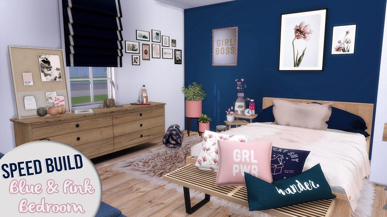 DARK BLUE & PINK BEDROOM | The Sims 4 Speed Build