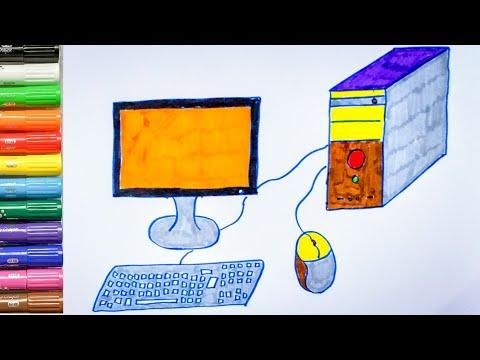 Hướng Dẫn Vẽ Và Tô Màu Chiếc Máy Tính để Bàn// Drawing And Coloring The My Computer