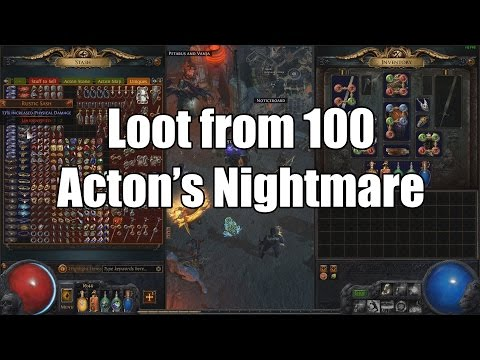 Loot from 100 Acton's Nightmare with 1650% IIR Nemesis