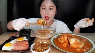 얼음물에 밥 말아서 금치 무섭게매운맛,오이지,김,계란후라이,스팸 먹방 Mukbang