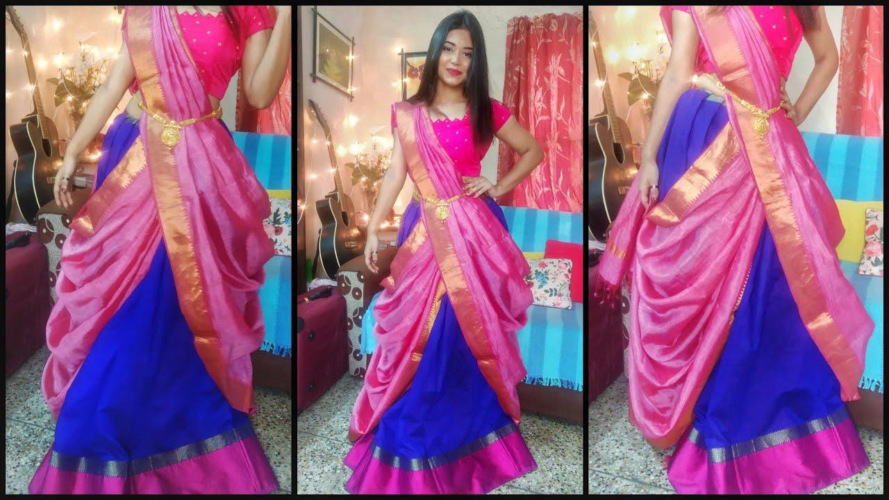How To Drape A Saree In Lehenga Style Silk Saree Draping Easy And Perfect Way Youtube