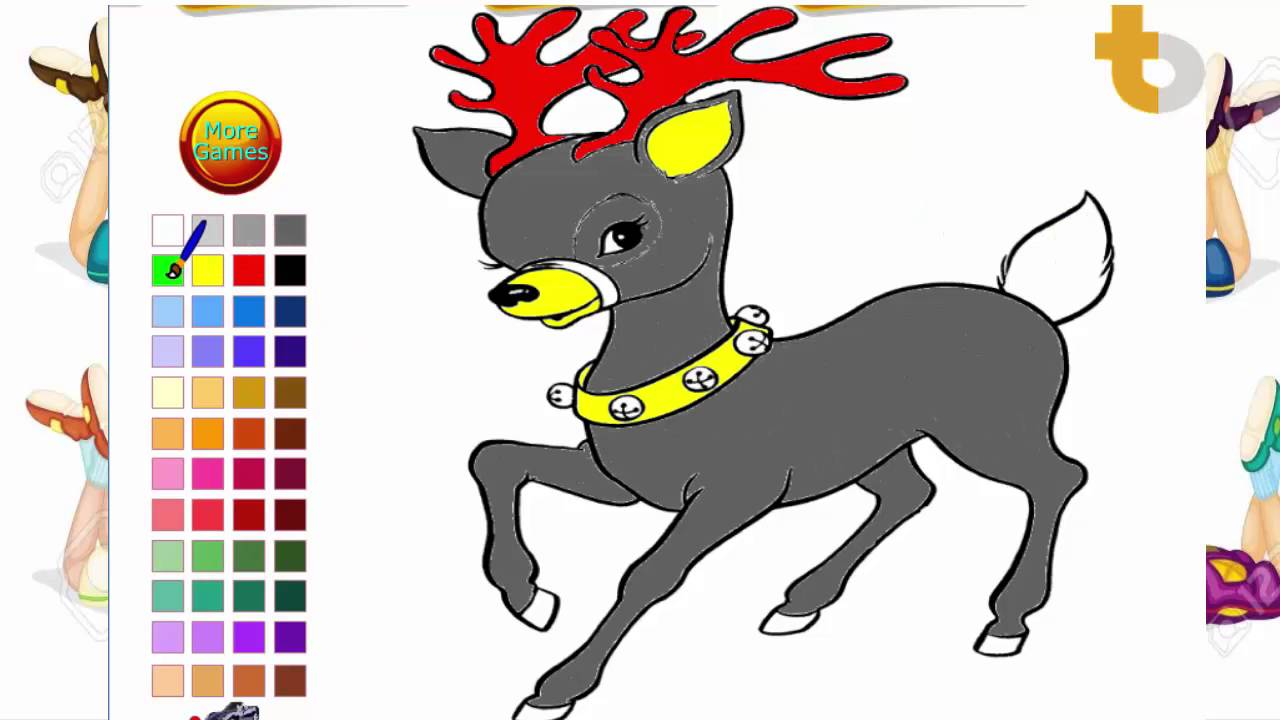 reindeer color pages reindeer coloring pages youtube