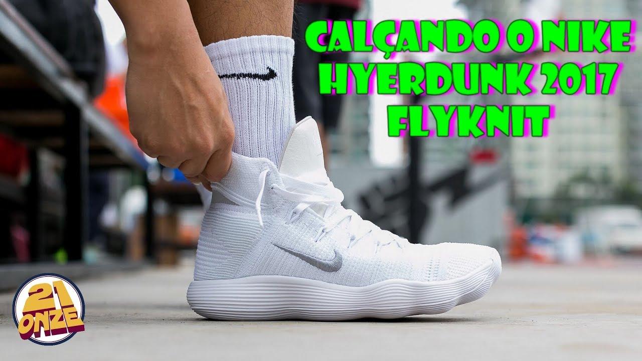Hazlo pesado Buen sentimiento ángulo  Calçando o tênis NIKE HYPERDUNK 2017 FLYKNIT (HYPERDUNK 2017 FLYKNIT on  feet) | Canal 21onze - YouTube