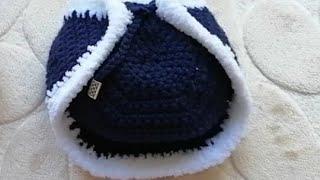 Как связать шапку ушанку для медвежонка