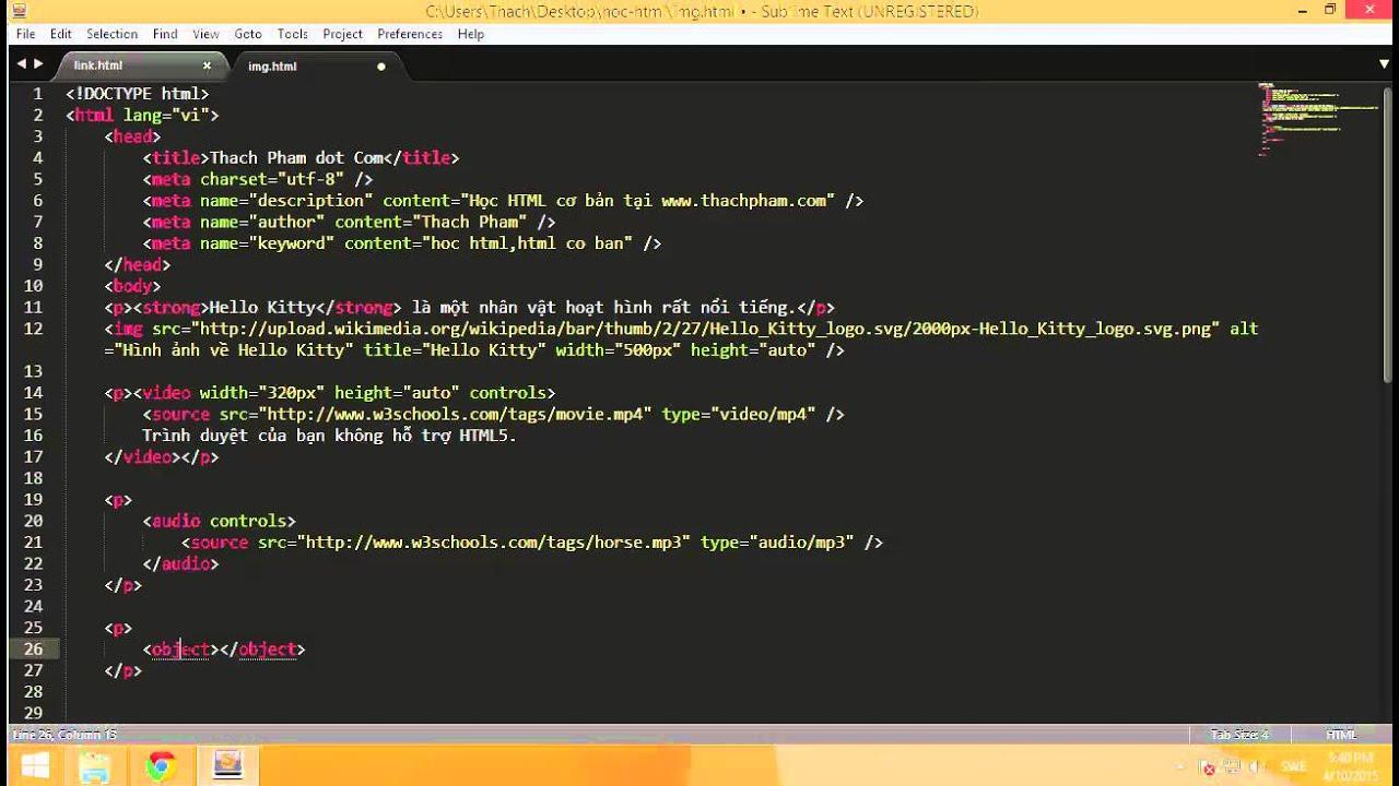 [Học HTML - 08] Chèn hình ảnh, video, audo và website