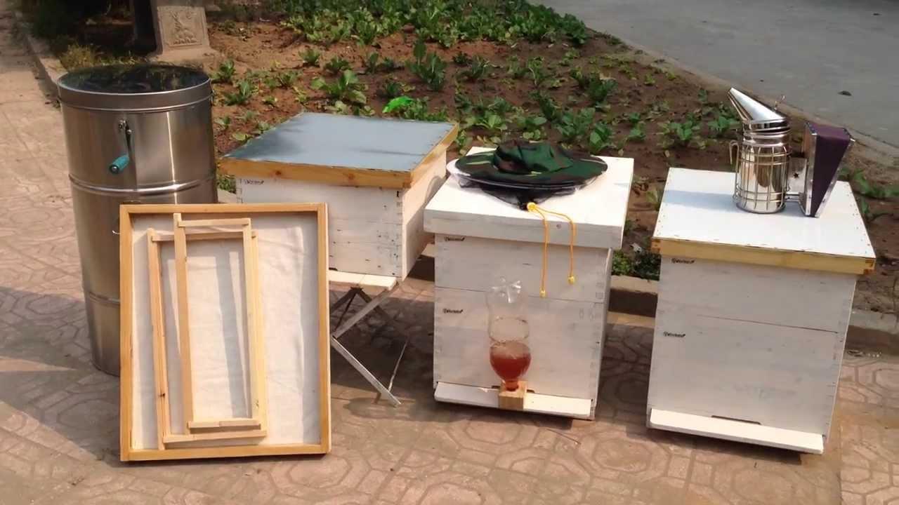 Thùng ong, các dụng cụ vật tư nuôi ong mật. 0913518118 - YouTube
