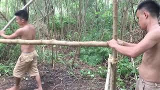 Primitive Survival Skills  Primitive Technology Build A Hut