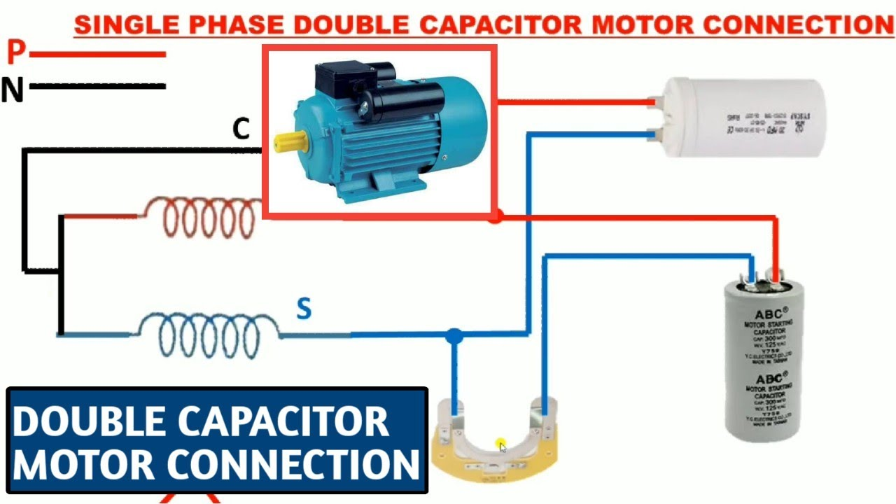 Double capacitor motor connection