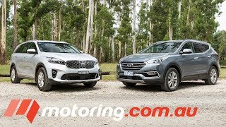 2018 Hyundai Santa Fe v Kia Sorento Comparison   motoring.com.au