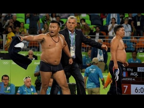 Mongolian Wrestling Coaches Strip and Go Nuts In Protest at Olympics