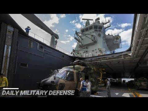 This is New Light Aircraft Carrier Australia's HMAS Canberra, Landing CH-53 Dock