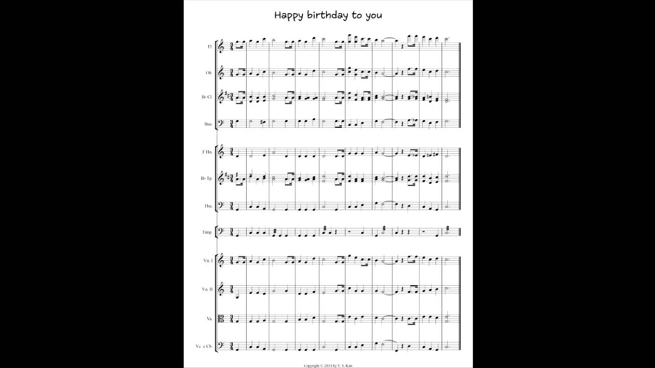 Happy birthday to you with orchestral sheet music score ...