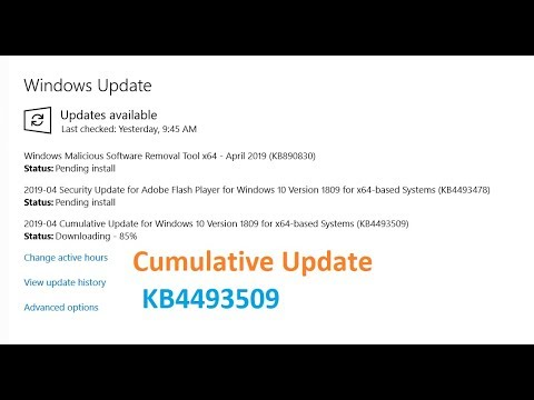 Cumulative Update for Windows 10 Version 1809 for x64 based Systems  KB4493509