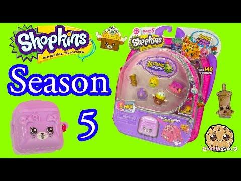Season 5 Shopkins Pack With Petkins Backpack Surprise Blind Bag + Charmbracelet - Video Cookieswirlc