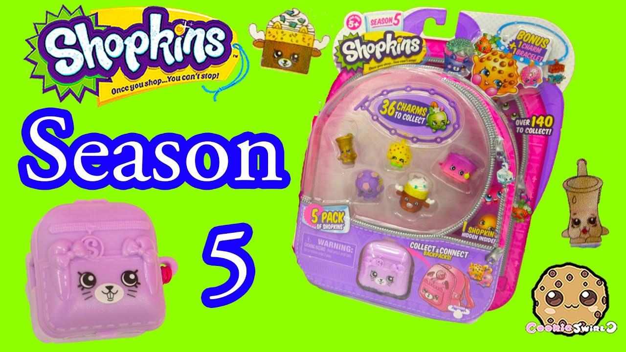 Season 5 Shopkins Pack With Petkins Backpack Surprise Blind Bag Charmbracelet
