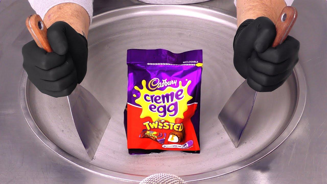 Cadbury creme egg - TWISTED   Ice Cream Rolls ASMR