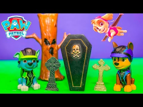 PAW PATROL Nickelodeon Spooky Dog Rescue with Mission Vehicles Chaseand Skye Toys Video