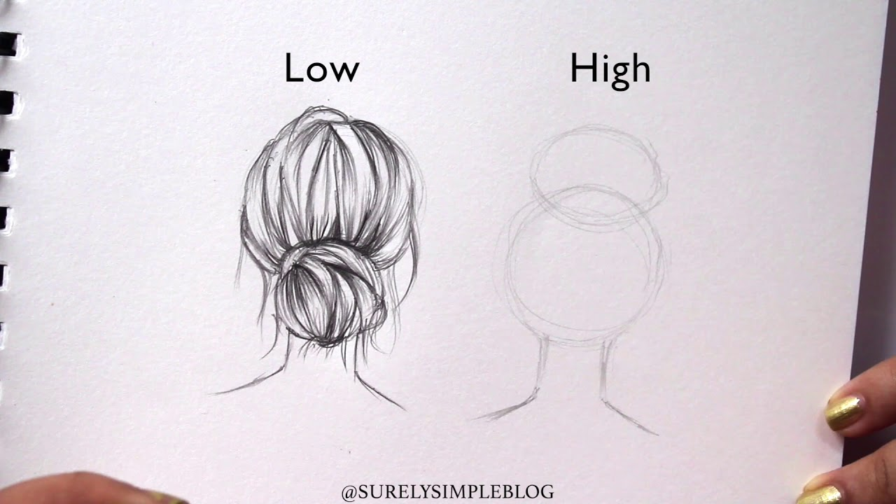 surelysimple how to draw high vs low bun hair drawing art