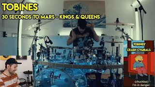 Drum Teacher reacts to Tobines (30 Seconds To Mars - Kings and Queens)
