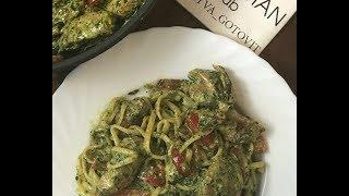 Телятина с лингвини, шпинатом и соусом песто: рецепт от Foodman.club