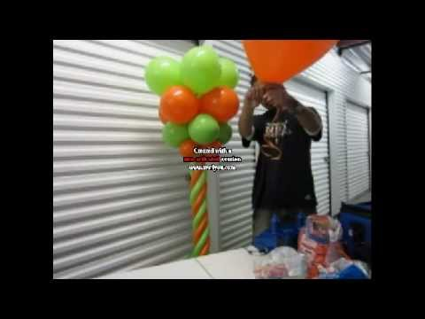 Como hacer una columna con globos decoraciones con - Hacer munecos con globos ...