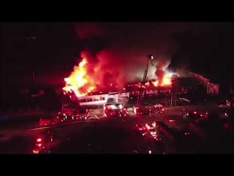 Aerial video of Calera motel fire