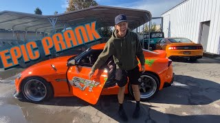 Epic Prank - @Tj Hunt A90 Supra gets Fast & Furious Treatment