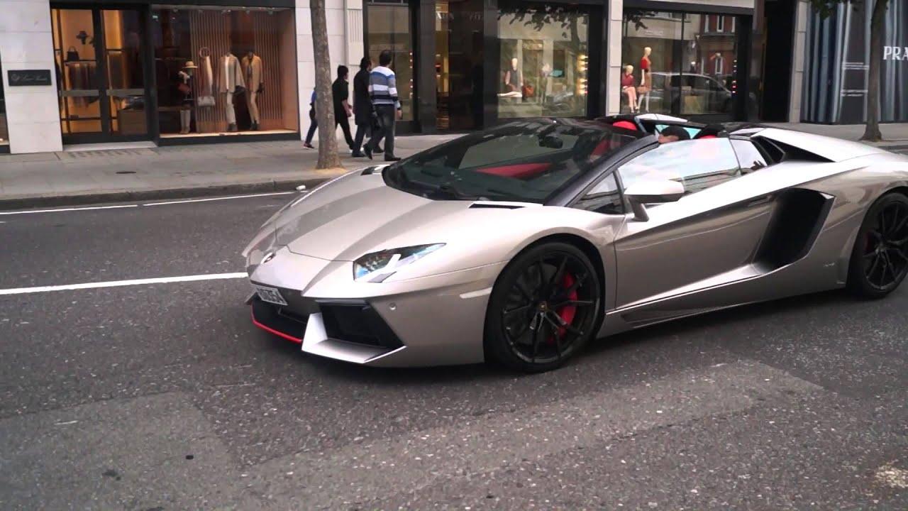 Silver Lamborghini Aventador: Silver Lamborghini Aventador Cruises In London