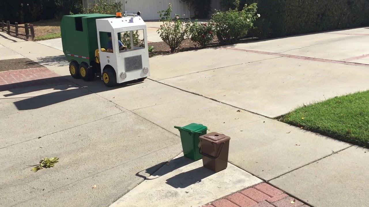 """Garbage Truck Power Wheels : Aidan """"the garbage truck kid pick up power"""