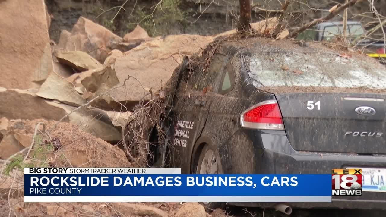 Pikeville Rockslide Damages Business, Parked Cars