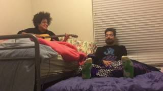 """The Uncluded (Aesop Rock and Kimya Dawson) performs """"Jambi Cafe"""" in bed 