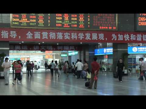 Train Station in HangZhou, China in Fast Motion