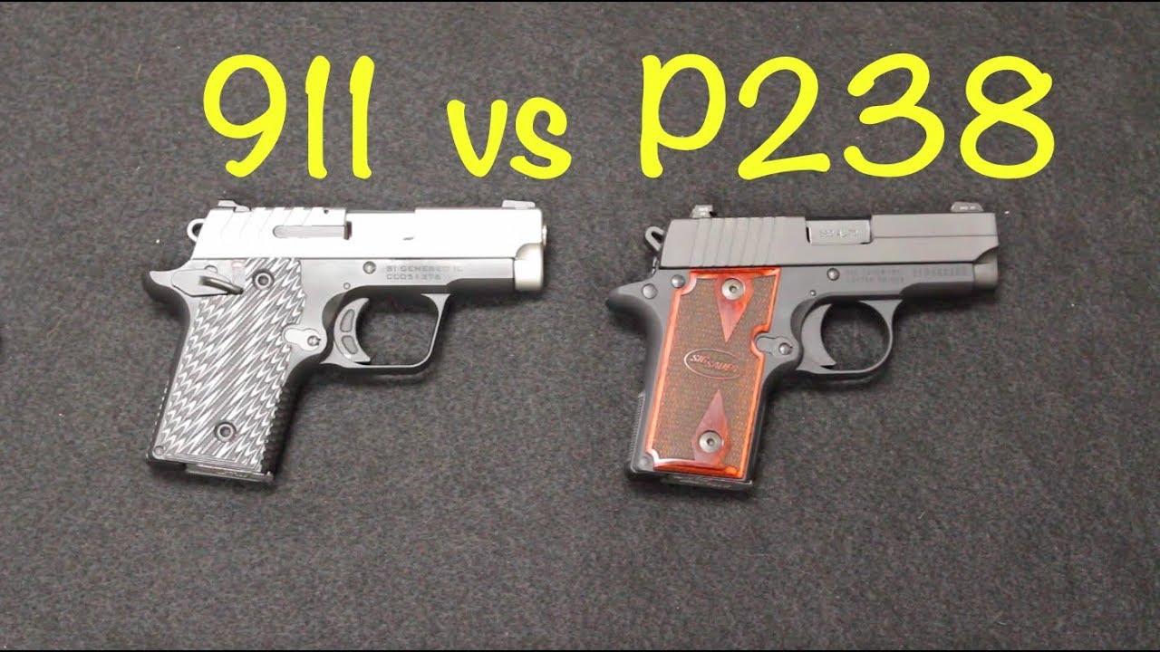 hight resolution of springfield 911 vs sig p238 380