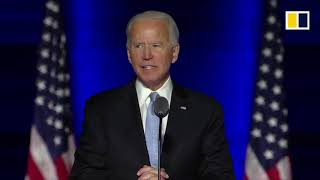 President-elect joe biden addresses the nation from state of delaware after democratic candidate defeated republican incumbent donald trump in us...