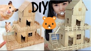 DIY Hamster House (2 floors) out of Popsicle Sticks | Pinterest Inspired DIY