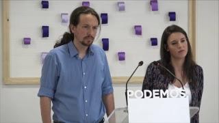 Rueda de prensa de Pablo Iglesias e Irene Montero