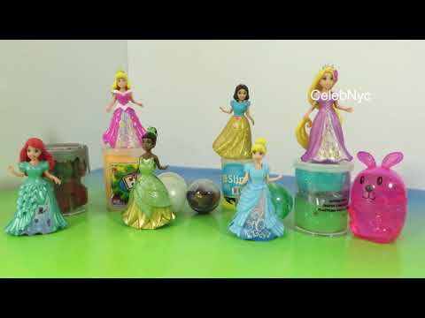 NEW Disney Magiclip Princess Slime Glitter Putty Mars Mud Putty Flarp Noise Putty Opening Dresses
