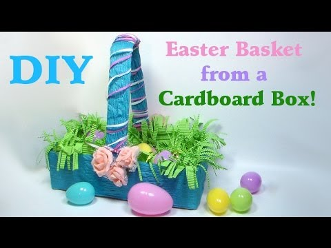 Diy easter basket from a cardboard box youtube negle Images