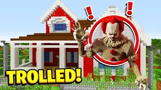 Minecraft : 5 Ways To Troll Pennywise HOUSE! (Ps3/Xbox360/PS4/XboxOne/PE/MCPE) Video