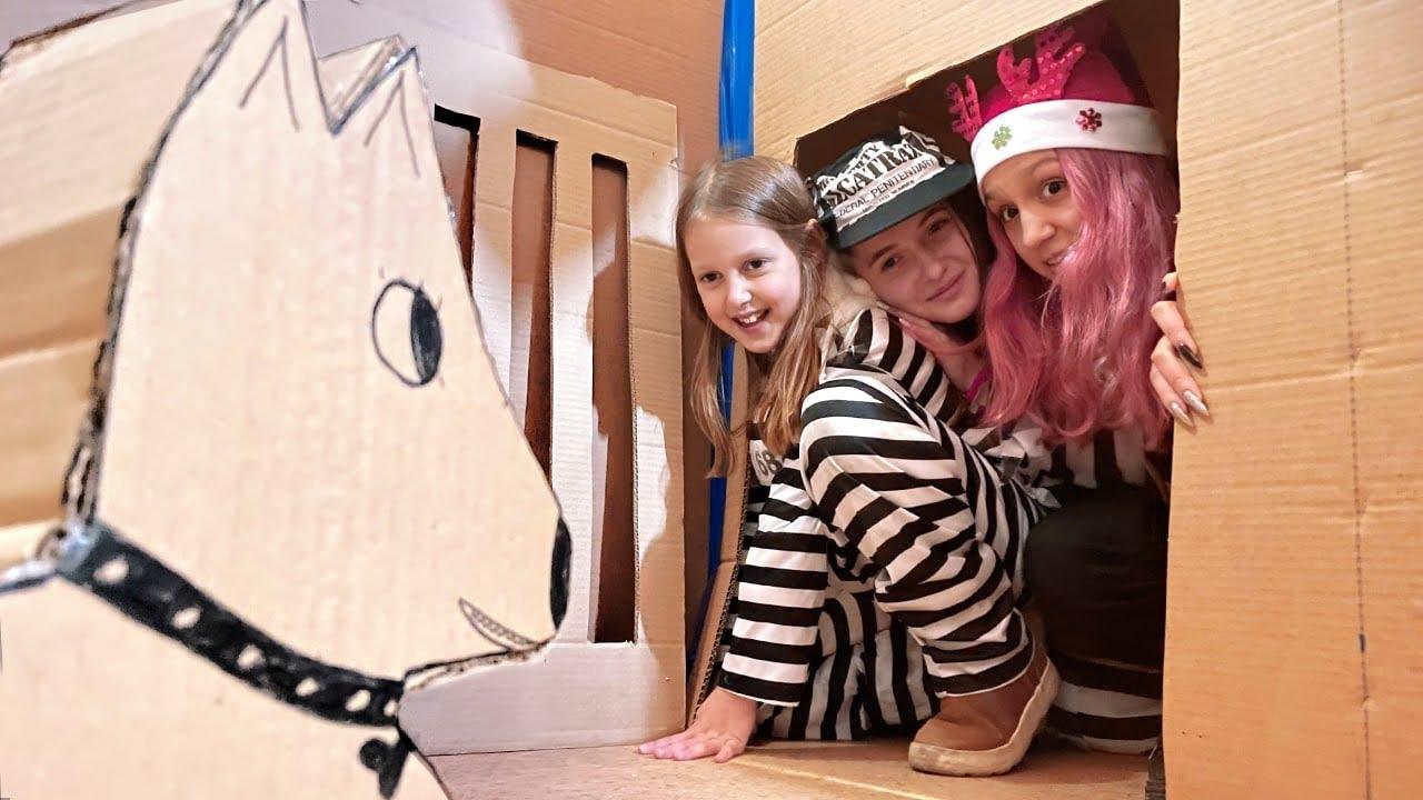 ПОБЕГ из Картонной Тюрьмы! Девочки решили ограбить и сбежать!