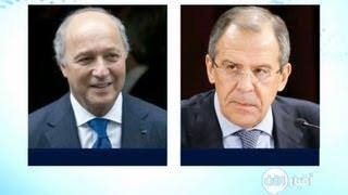 لقاء بين وزير الخارجية الفرنسي لوران فابيوس ونظيره الروسي سيرغي لافروف