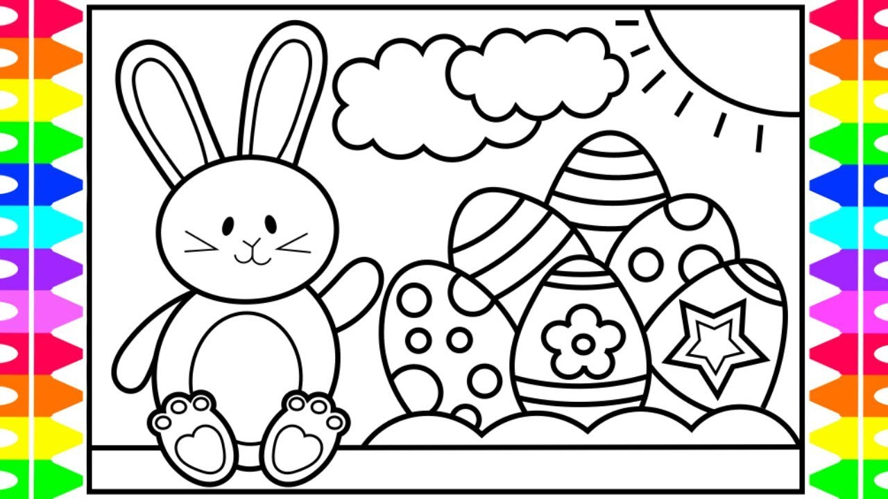 How To Draw The Easter Bunny And Eggs For Kids 🐰🌈🌸Easter