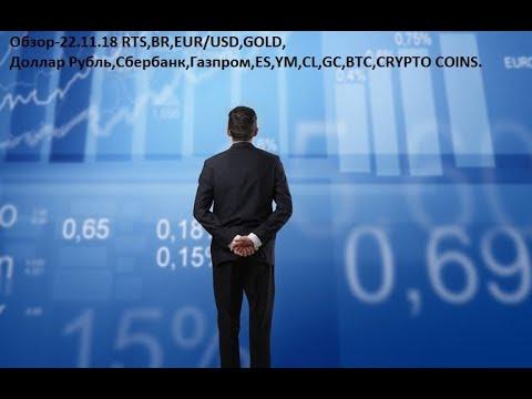 Обзор-22.11.18 RTS,BR,EUR/USD,GOLD, Доллар Рубль,Сбербанк,Газпром,ES,YM,CL,GC,BTC,CRYPTO COINS
