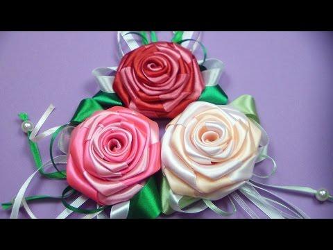 Цветы своими руками из атласных лент, фото мастер классы