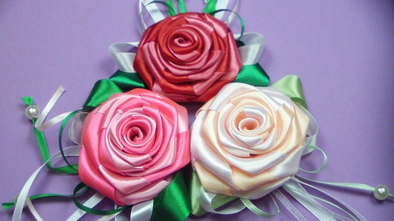 Объемные розы из ленты своими руками