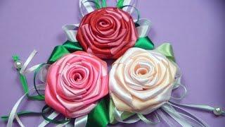 Как сделать РОЗЫ из Атласных Лент / ribbon rose Tutorial / ✿ NataliDoma(Мастер-класс по созданию красивой двухцветной розы из атласных лент. How to make colored rose satin ribbon. Tutorial ✿ Мой канал..., 2013-09-11T20:18:05.000Z)